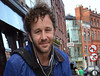 Chris O'Dowd walking down Aungier Street after doing some shopping at Dunnes Dublin, Ireland