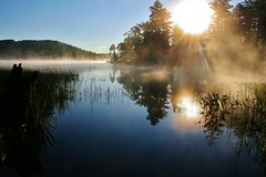 His coming is as brilliant as the sunrise. Rays of light flash from his hands, where his awesome power is hidden.   Habakkuk 3:4 (bloesch14) Tags: morning camp lake water grass sunrise canon reeds hiking mason lakes adirondacks adk camoing