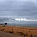 Beach of Quarteira in cloudy weather