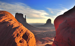 Monument Valley Between a Rock and a Hard Place (Bill Gracey) Tags: travel vacation arizona tourism nature composition pose rocks dirtroad framing monuments iconic formations rockformations scenry buttes monumentvalleytribalpark theoldwest