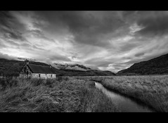 Glen Affric Bothy (Michael~Ashley) Tags: white black mountains clouds mono scotland highlands scottish glen hills munros bothy affric