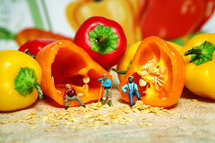 Taking a Break (Lon Casler Bixby) Tags: california stilllife hot macro cute art closeup kids canon children fun toys miniatures miniature funny colorful child artistic bokeh fineart humor mini plastic textures american micro extremecloseup americana peppers ho littlepeople edible tabletop fineartphotography tinypeople ecu artisticphotography macrolens macrophotography redpeppers plastictoys yellowpeppers hoscale preiser hofigures canonphotography toyfigures toymodels miniaturephotography miniworlds tinyfigures toyswithfood hopeople littlefigures neoichi bigworlds loncaslerbixby closeuplittlefigures