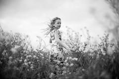 ~`~ (~ M a t e ~) Tags: flowers portrait bw nature girl childhood hair spring child dress wind naturallight kidslife maureentetteroo