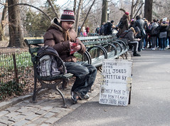 Strawberry Fields Regular (UrbanphotoZ) Tags: nyc newyorkcity ny newyork bench forsale centralpark manhattan character crowd tourists jokes upperwestside parkbench tobacco rolling strawberryfields regular onedollar skicap moneyback freeifyourebroke