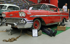 1958 Chevrolet Impala Sport Coupe (crusaderstgeorge) Tags: red cars chevrolet sport sweden may 1958 repairing sverige impala coupe classiccars mot americancars redcars carmeet gvleborg americanclassiccars granssonarena 1958chevroletimpalasportcoupe amerikanskabilar arenawheels may2016 americancarsinsweden