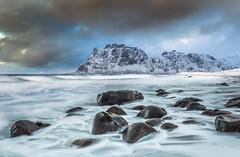 Sea Polished Boulders (Jerry Fryer) Tags: snow seascape norway clouds landscape coast lofoten 6d leefilters uttakliev ef1635mmf4l