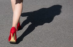 Following the line (symartin44) Tags: red color girl walking stilettoheel