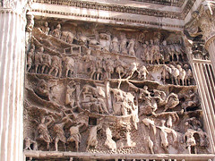 Rome 573 (Xeraphin) Tags: italy rome detail archaeology ancient arch roman forum carving frieze relief latin travertine archeology inscription geta triumphal caracalla severus coffered parthian septimius victories