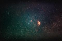 Lagoon and Trifid nebulas (Obaid_Musabbeh) Tags: night digital canon wonderful dark stars photography colorful astro nebula astrophotography 5d astronomy nightsky universe astrology celestron digitalphotography darksky sct markii stargazing milkyway mark2 nebulae startracker ioptron statdust