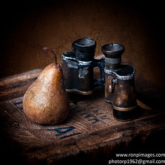 Oops.  How did this get in here? (Photography by Rp) Tags: stilllife binoculars pear texture crate studio gradient