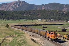 BNSF 9134 Spruce 22 May 16 (AK Ween) Tags: railroad train colorado spruce bnsf rampartrange emd coaltrain sd70ace jointline bnsf9134