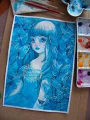 In the Garden of Blue Butterflies - almost done! (The Girl with the Flaxen Hair) Tags: blue illustration garden watercolor painting ooak traditionalart workinprogress butterflies surreal wip etsy lowbrow japanesegirl animegirl animemanga etsyshop natiart inkandwatercolor
