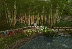 Moonlight Teahouse Bamboo Forest (Gaea Oakleaf) Tags: japanese teahouse moonlight cherryblossom bamboo koi pond garden zen tranquil