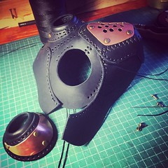 Design is coming along nicely. #Cyberpunk #CyberGoth #postapocalyptic #postapocalypse #steampunk #steampunkmask #leathermask #handmade #LARP #dieselpunk #leather #Darkart #costume #burningman (tovlade) Tags: black girl face make up leather punk hand mask goth goggles made doctor cyber cybergoth cyberpunk plague larp steampunk postapocalyptic postapocalypse dieselpunk