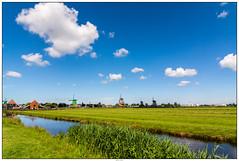 Zaanse Schans overzicht (voorhammr) Tags: gras zon zaanseschans zaandam molens 2016 vakwerk huisjes blauwelucht jolandakraus