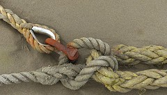Mooring ropes, shackle and thimble (Charos Pix) Tags: sand rust rope knot thimble mooring shackle