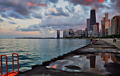 After The Rain HDR (Seth Oliver Photographic Art) Tags: chicago buildings reflections landscapes illinois nikon midwest skyscrapers cities cityscapes lakemichigan hdr highdynamicrange pinoy johnhancockbuilding chicagoskyline urbanscapes secondcity goldcoast windycity chicagoist circularpolarizerfilter d90 puddlereflections wetreflections lakepointetower handheldshot pseudohdr cityofbigshoulders singlefilehdr hdrimages lakefronttrails setholiver1 1024mmtamronuwalens