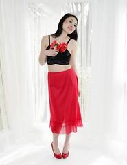 red half slip (empressjadevintage) Tags: lingerie retro 1950s 50s nylon pleated halfslip sheerred crystalpleats