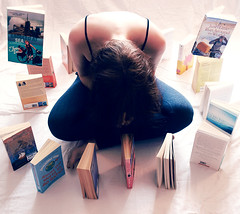 Too Much Literature. Too Much Choice. (Samantha Sekula) Tags: white artistic sister levitation books sheets faceless