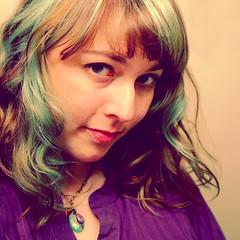 mermaid hair 1 (Opal in the rough) Tags: blue portrait woman color green self hair style highlights bangs streaks opalintherough