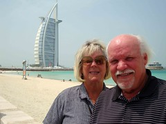 At the Beach in Dubai, United Arab Emerits (J K Johnson) Tags: trip travel cruise beach architecture hotel spring al interesting dubai uae middleeast arab voyager regent 7star burg traveler sevenseas 7stars burgalarab jimjohnson jkjohnson