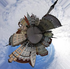 world of tallinn (gruntpig) Tags: world sky people church clouds photoshop buildings circle effects town hall europe estonia structures shops townhall tallin circular tallinna raekoda tallinnaraekoda