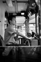 Mr. Conductor (Ding Yuin Shan) Tags: leica 35mm blackwhite tram hong kong nostalgic wan summilux conductor m9 sheung preasph dingyuinshan