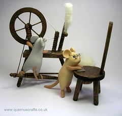 Spinning Wheel Mice (Quernus Crafts) Tags: cute mouse mice polymerclay woodworking sanding spinningwheel quernuscrafts