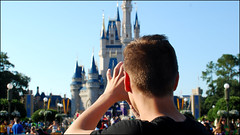 One last look (Ben Andreas Harding) Tags: camera family boy summer vacation people usa holiday castle tourism look june us orlando looking view florida unitedstatesofamerica picture palace tourist disney tourists disneyworld distance viewing magickingdom 2012 distant timeoff 35mm18g