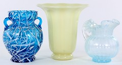 1036. (3) Pieces of European Art Glass