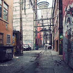 Alley With A View (helle-belle) Tags: canada vancouver graffiti alley backalley britishcolumbia pigeons gastown 2012 duer forr vancouverlookout canoneos5dmrkii baggyde