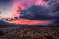 The Road To Mammoth (SoCal Mark) Tags: california sunset panorama storm color nature beauty rain weather clouds desert nevada lakes stormy sierra mammoth sierras eastern thunder 395 nauture