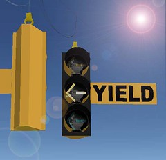 8-inch Yielding Left Turn signals (Traffic signal Guy 14) Tags: eagle led yield trafficsignal greenarrow leftturn 8inch charchoal yielding econolite spanwires 8incharrows dederalyellow darkcharchoal cautionarrow yieldarrow