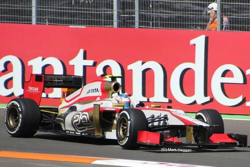 Narain Karthikeyan in his HRT Hispania Racing Team F1 car at the 2012 European Grand Prix at Valencia