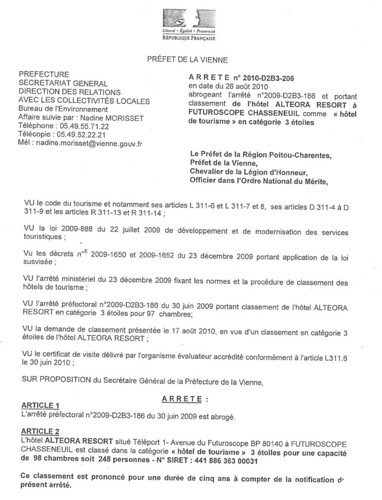 Arreté classification Privilège