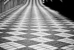 Geometric Patterned Sidewalk (Orbmiser) Tags: summer bw geometric oregon portland nikon reptition d90 55200vr