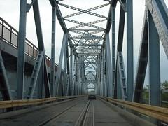Road-rail bridge on the Drina close to Sremska Rača