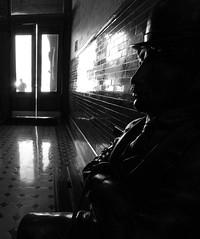 Charlie Chaplan, Bradbury Building LA (Pirtz) Tags: california door light window silhouette statue la losangeles downtown bradburybuilding charliechaplan