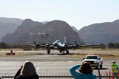 """B-17G """"Sentimental Journey"""" (twm1340) Tags: arizona flying sedona az helicopter b17 journey boeing sez douglas fortress caf robinson sentimental b17g r44 4483514 n9323z r44ii n99tv 31mar2014"""