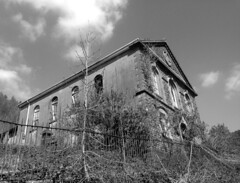 Hebron Chapel, Cymmer (1) (Fragglehound) Tags: history abandoned church monochrome wales architecture decay chapel derelict hdr cymmer twitter cymer