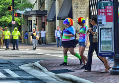 Bring in the Clowns (Philip Osborne Photography) Tags: clown street hugs large obese woman rainbow afro streetphotography wig