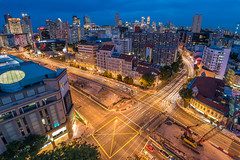 Singapore Cross Junction (BP Chua) Tags: road city blue sunset cars buildings landscape lights nikon singapore cityscape trails wideangle bluesky junction bluehour littleindia 14mm theverge