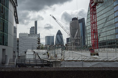 New view (Spannarama) Tags: uk london clouds view crane demolition gherkin buildingsite tower42 workman demolitionsite moorlane