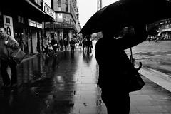 Umbrella series (HKI DRFTR) Tags: shadow blackandwhite woman rain contrast umbrella finland helsinki europe streetphotography streetscene silouette rainyweather wetstreets personalproject streetsurreal