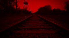 R E D (mckeenjohn32) Tags: train tracks red color 80s synthpop synthwave neo retro vhs distort glitch