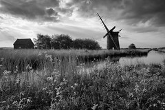 Cow Parsley and Windmills (PeaStew) Tags: sunset blackandwhite water windmill weather canon river mono lowlight mood dusk norfolk serene tranquil broads