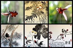 Chine du Sud 2016 - Lijiang (philippebeenne) Tags: china mobile peinture yunnan lijiang chine oiseaux polyptyque