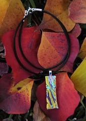 dichroic glass pendant (jani.na) Tags: autumn red orange black green glass leaves leather yellow silver cord leaf colours jani pendant dichroic nanavati sterlig