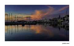 IMA_8756b Simply Cycladic (foxxyg2) Tags: blue sunset red sky water port boats gold harbour ships aegean greece maritime bluehour greekislands cyclades naxos islandhopping islandlife chroa