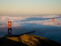 Summer nights (shhflights) Tags: sunset fog goldengatebridge slackerhill olympusep1